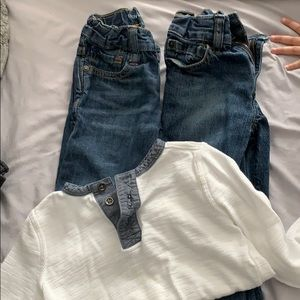 2 pairs of Gap jeans and Old Navy top